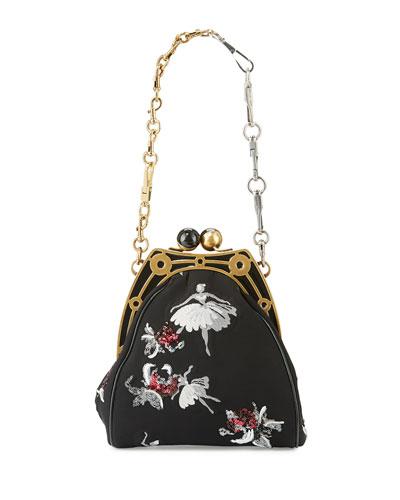 Ballerina-Embroidered Framed Shoulder Bag, Black