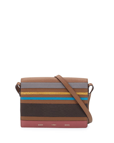 Pulce XL Vitello Striped Crossbody Bag, Nut/Gray/Yellow/Blue/Dark Brown/Pink