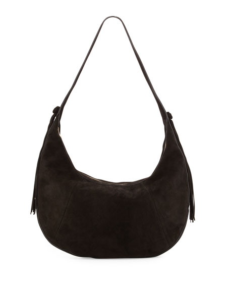 Elizabeth and James Zoe Large Suede Hobo Bag, Black