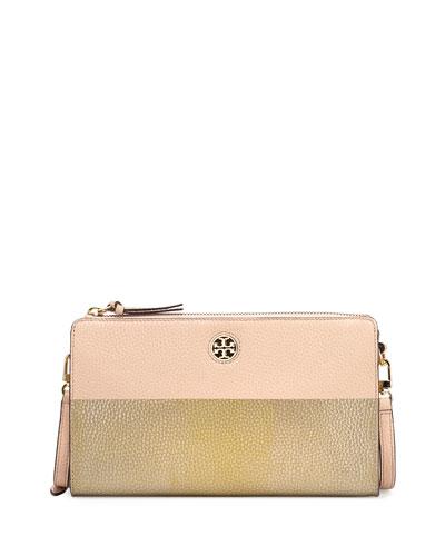 Perry Colorblock Wallet Crossbody Bag, Light Oak/Gold