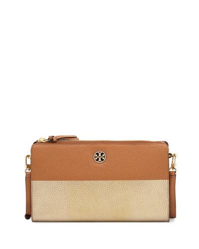 Perry Colorblock Wallet Crossbody Bag, Bark/Gold