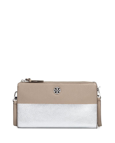 Perry Colorblock Wallet Crossbody Bag, French Gray/Silver