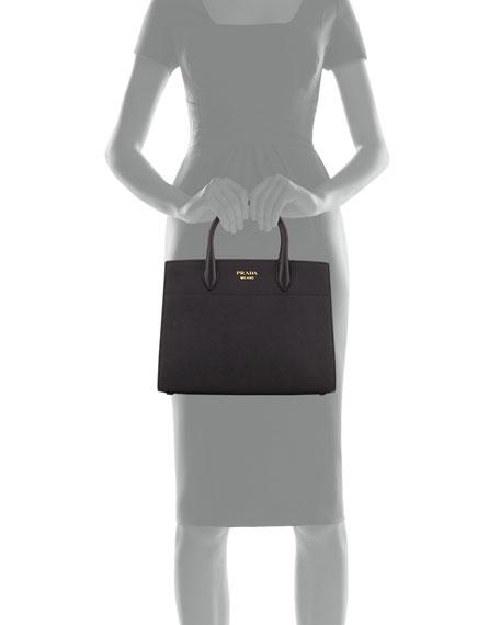 Bibliotheque Medium Saffiano Top-Handle Tote Bag, Black (Nero)