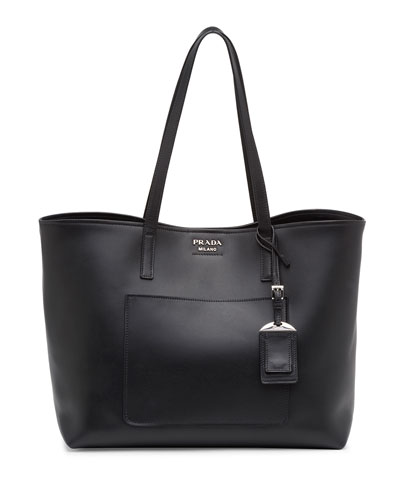 Soft Leather Shopper Tote Bag, Black (Nero)