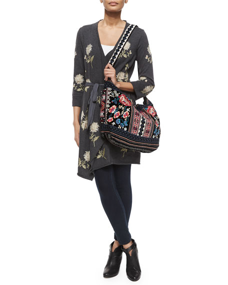 Izzy Embroidered Velvet Tote Bag, Black