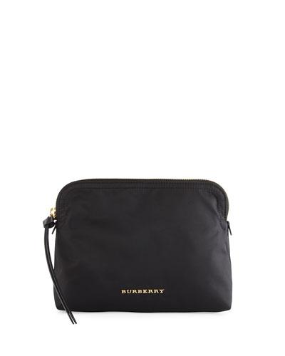 Zip-Top Technical Nylon Pouch Bag, Black