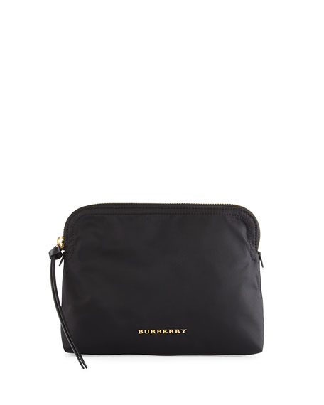 Burberry Zip-Top Technical Nylon Pouch Bag, Black