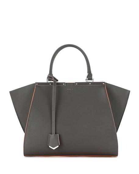 3Jours Medium Leather Satchel Bag, Gray/Multi