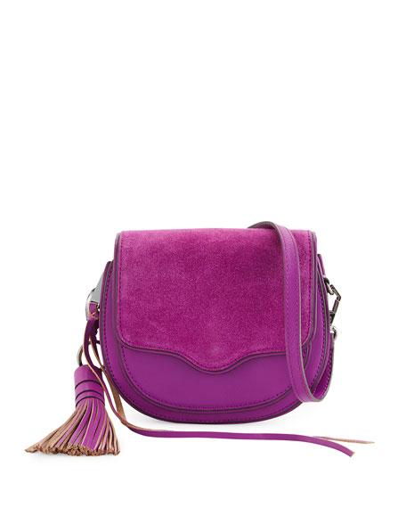 Suki Mini Suede & Leather Saddle Bag, Purple