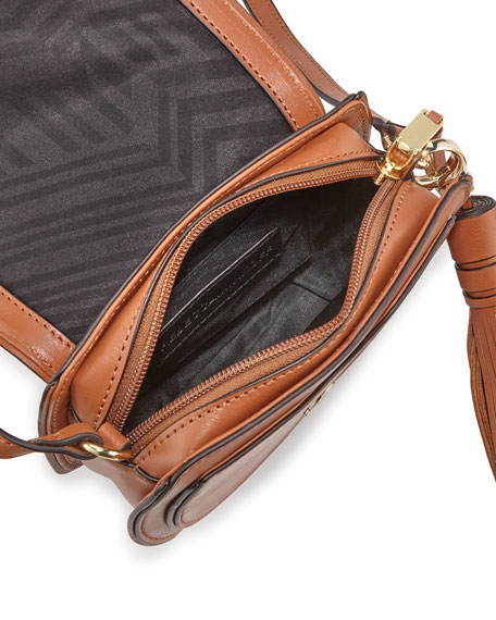 Suki Mini Suede & Leather Saddle Bag, Almond
