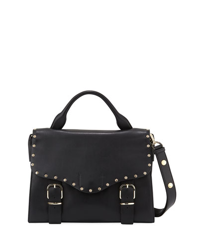 Biker Leather Doctor Bag, Black