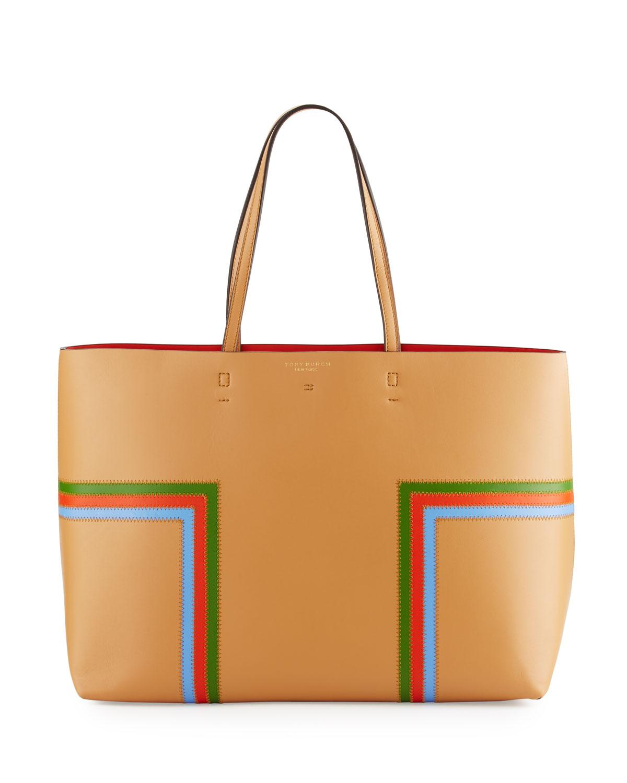 11173d19405c Tory Burch Block-T Striped Leather Tote Bag