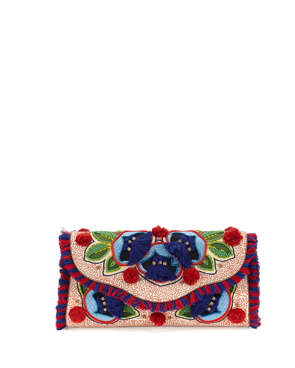 1c5e962434dffb Tory Burch Embroidered Floral Flap Clutch Bag