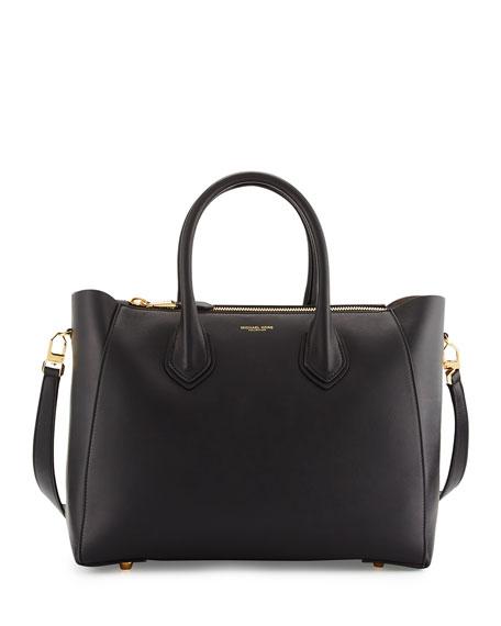 Michael Kors Helena Large Leather Satchel Bag, Black   Neiman Marcus