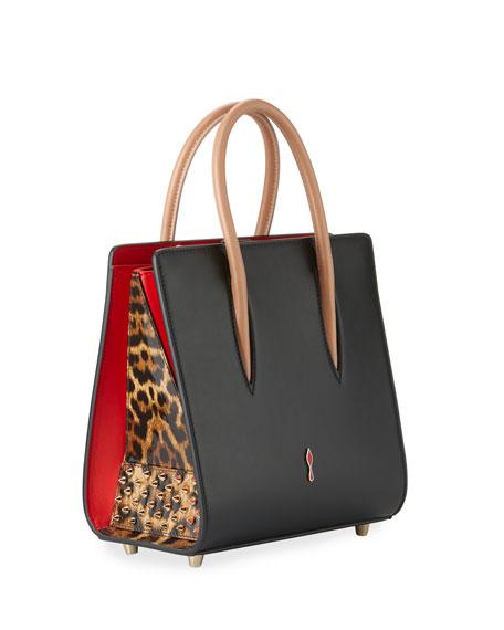 Paloma Small Calf Tote Bag, Black/Brown