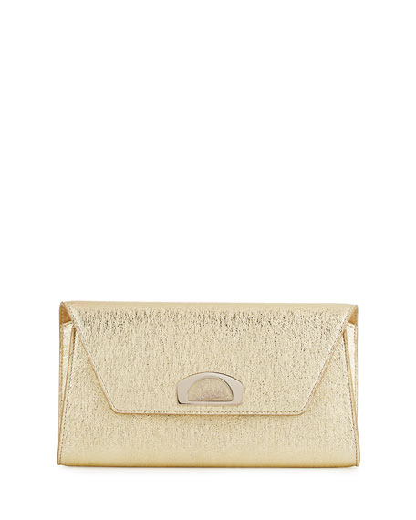 Vero Dodat Flap Clutch Bag, Gold