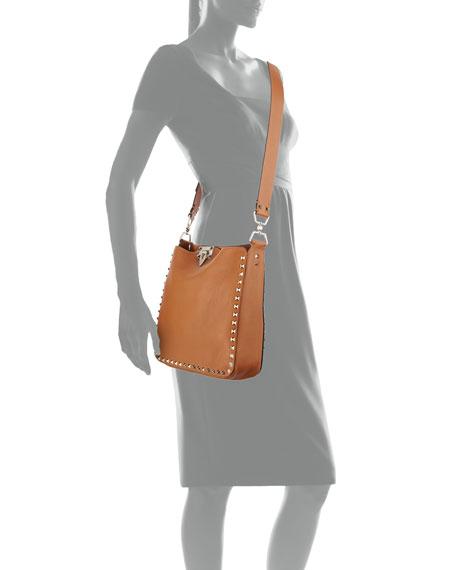Rockstud Small Flip-Lock Messenger Bag, Light Cuir