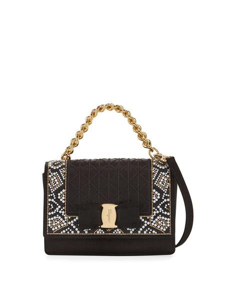 Ginny Mini Mosaic Crossbody Bag, Raso Nero