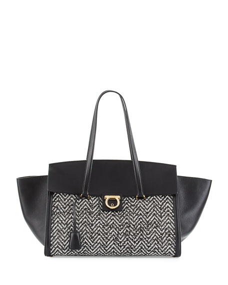 Salvatore Ferragamo Mara Medium Woven Tote Bag, Nero/Bianco