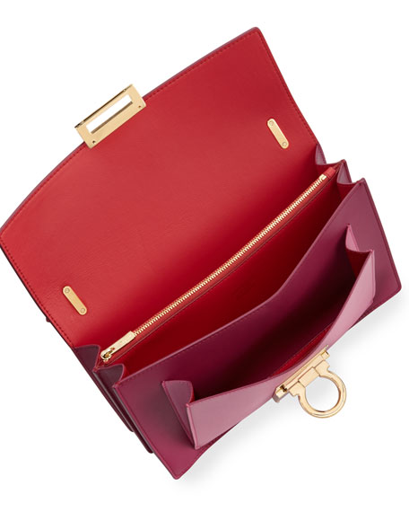 Aileen Colorblock Leather Shoulder Bag, Sangria