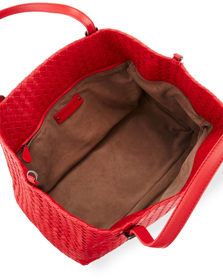 Intrecciato Medium A-Shaped Tote Bag, Red