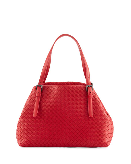 Bottega Veneta Intrecciato Medium A-Shaped Tote Bag, Red