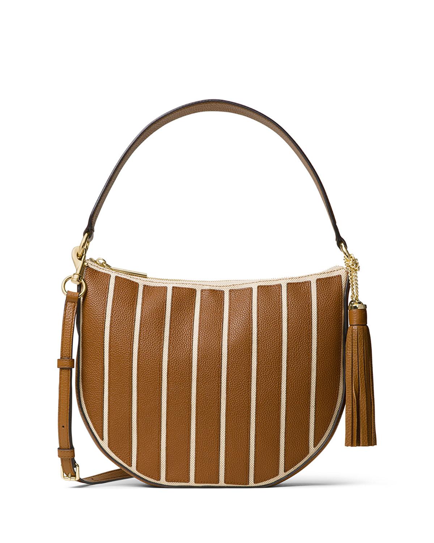 27297b6acd19 MICHAEL Michael Kors Brooklyn Medium Striped Canvas Convertible Hobo Bag