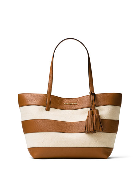 Large Striped Canvas Tote Bag, Natural/Acorn