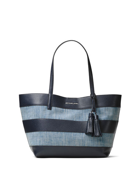 Large Striped Canvas Tote Bag, Washed Denim