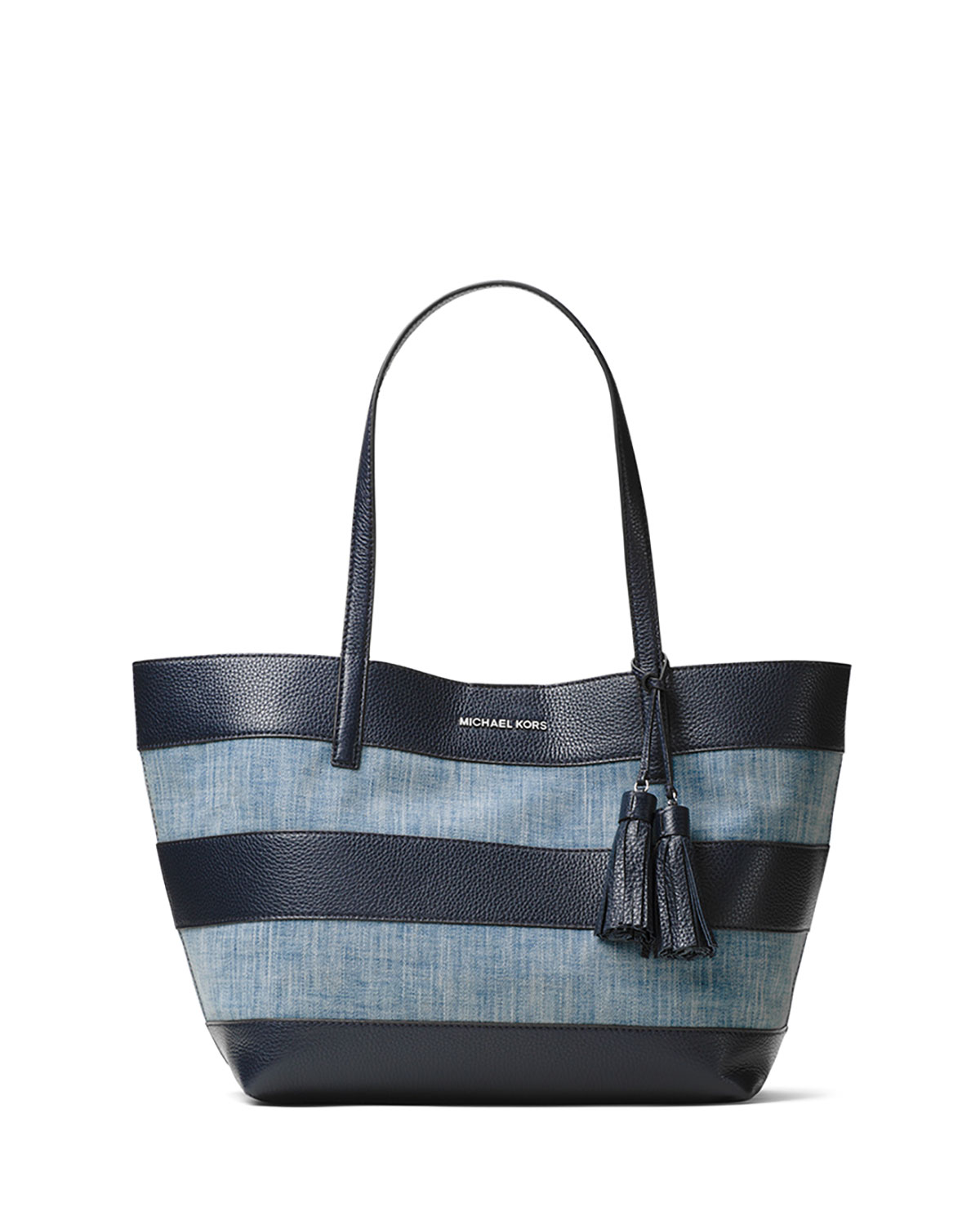 a5d2b3231c1cc6 MICHAEL Michael Kors Large Striped Canvas Tote Bag, Washed Denim ...