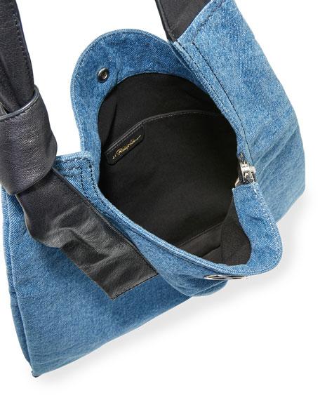 Elisa Leather-Trim Denim Shoulder Bag, Washed Indigo/Black