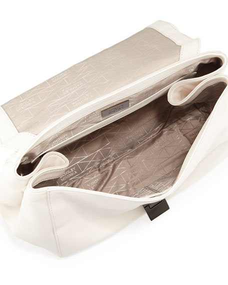 Remy Chevron Snake Embossed Leather Satchel Bag, Latte