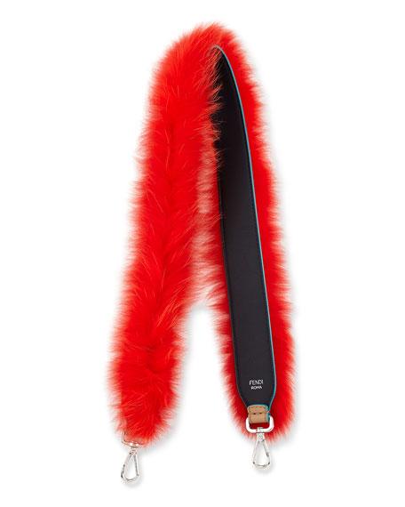 Strap You Fox Fur Shoulder For Handbag Navy Red