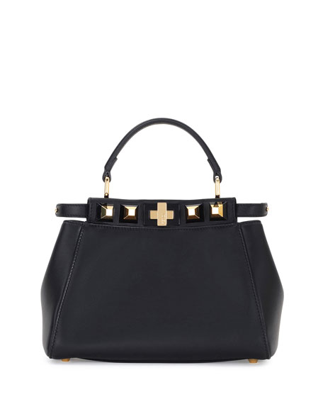 Fendi Peekaboo Mini Studded Leather Satchel Bag, Black/Gold