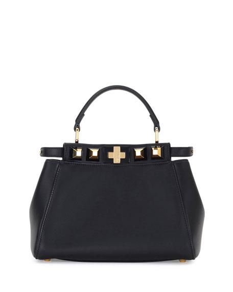 Fendi Peekaboo Mini Studded Leather Satchel Bag, Black/Gold