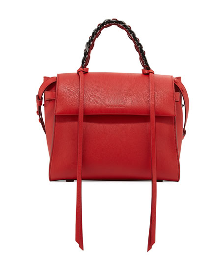 Elena Ghisellini Angel Madras Top-Handle Satchel Bag, Lips