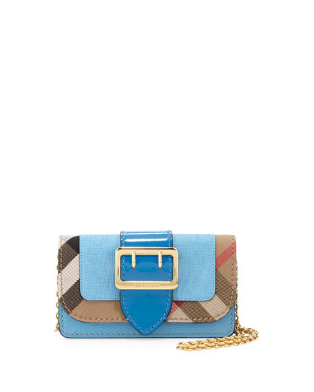Buckle Mini Leather & House Check Bag, Bright Mineral Blue