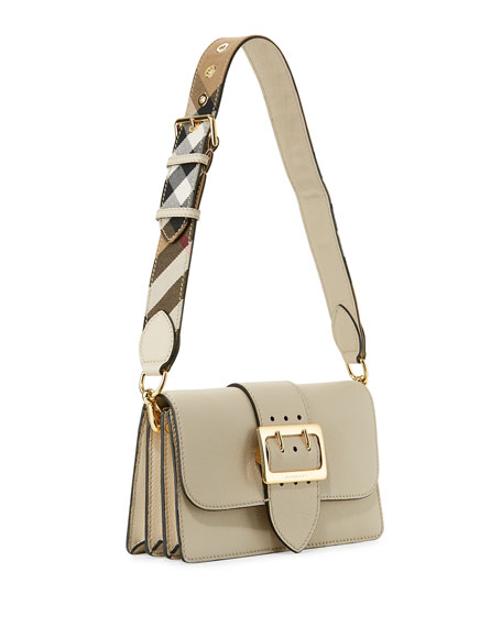 Buckle Small Leather Shoulder Bag, Limestone