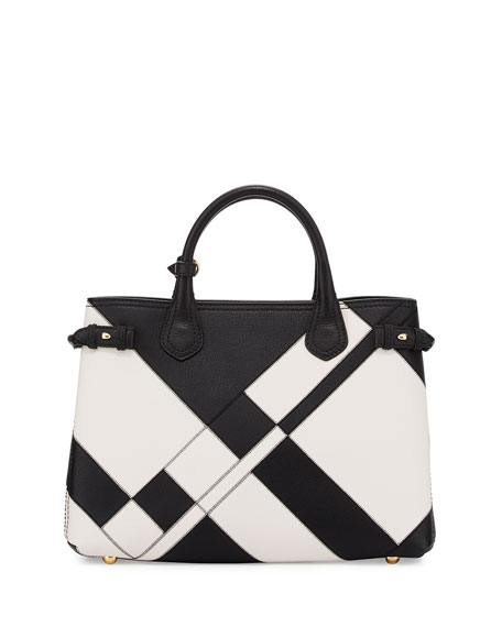 Burberry Banner Medium Patchwork Leather Tote Bag, Black/White