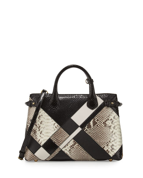 Burberry Banner Medium Patchwork Python Tote Bag, Black/White