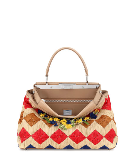 Fendi Peekaboo Medium Floral Raffia Satchel Bag, Natural/Multi