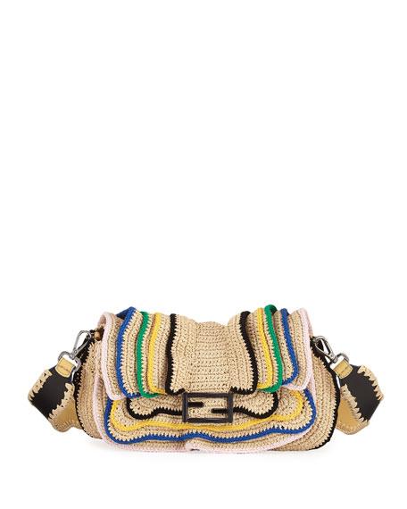 Baguette Heart-Stud Wave Shoulder Bag, Natural