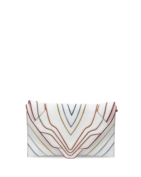Selina Multilines Small Clutch Bag, White