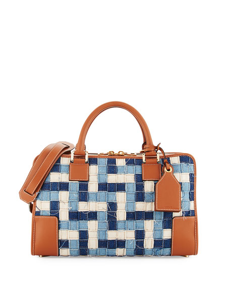 Loewe Amazona 28 Woven Denim Satchel Bag, Blue/Multi