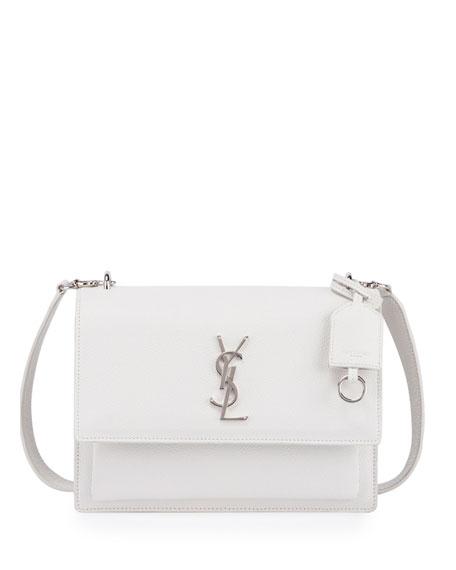 Saint Laurent Sunset Medium Crossbody Bag, White