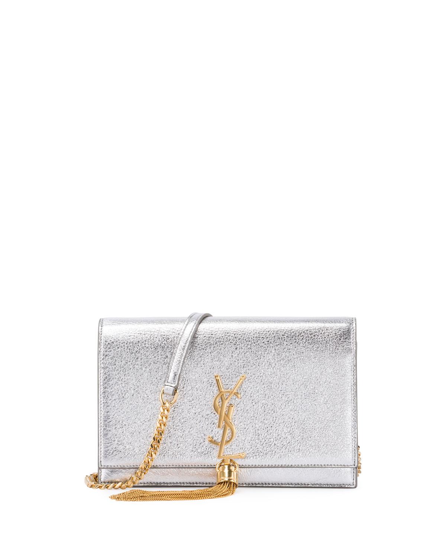 Saint Laurent Kate Monogram Tassel Wallet on Chain, Silver   Neiman ... 0459b93265