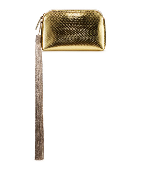 Mini Metallic Snakeskin Tassel Wristlet