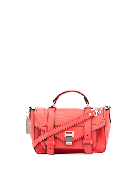 Proenza Schouler PS1+ Tiny Leather Satchel Bag, Geranium