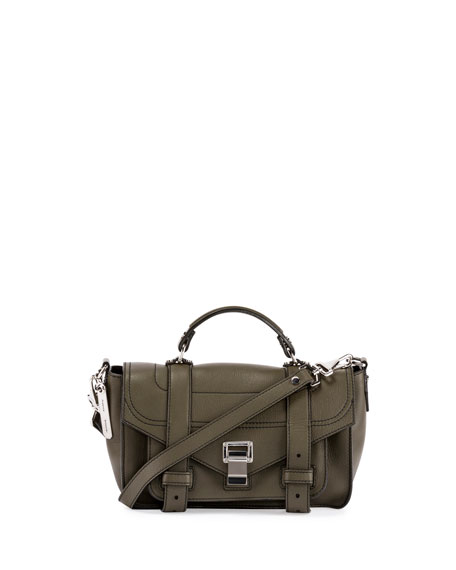 Proenza Schouler PS1+ Tiny Leather Satchel Bag, Cypress