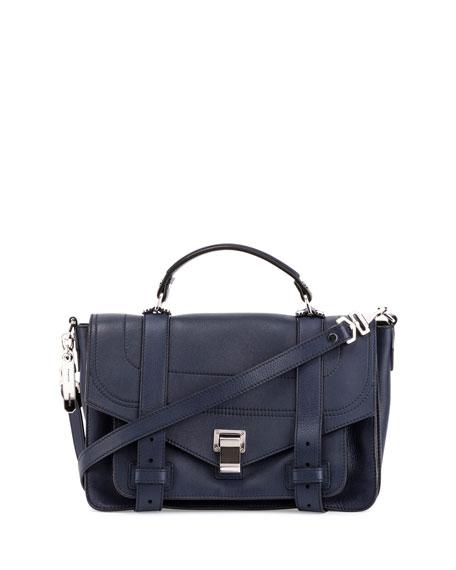 Proenza Schouler PS1+ Medium Leather Satchel Bag, Indigo